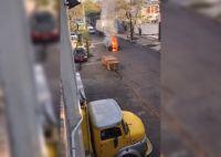 Dramático momento: un patrullero de la Policía se prendió fuego en movimiento