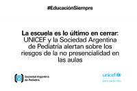 La Sociedad Argentina de Pediatría y Unicef  alertan sobre las clases no presenciales