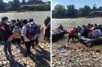 Por diferencias entre chalaneros, estudiantes bolivianos tuvieron que cruzar en gomones