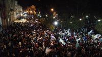 Festejos en Plaza 9 de Julio. Fuente: (Twitter)